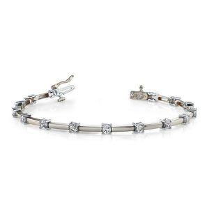Sparkling round cut diamond tennis bracelet white